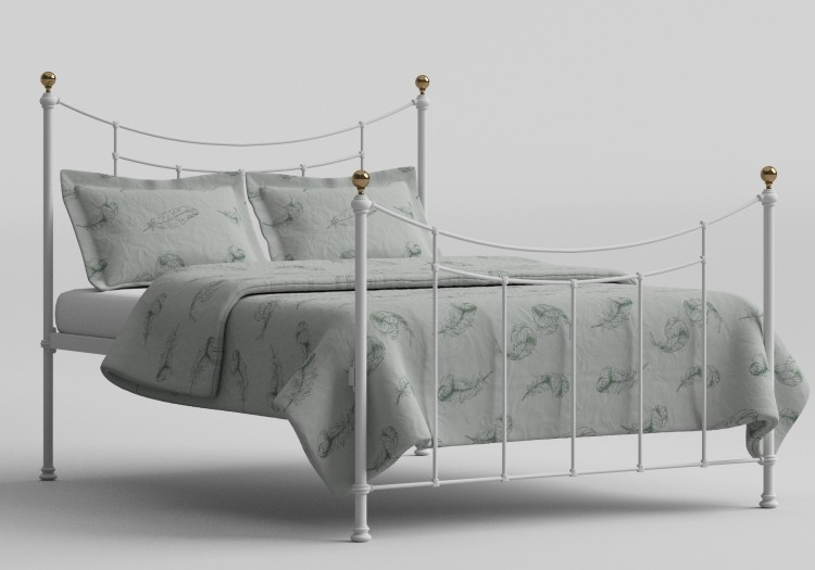 OBC Virginia 5ft Kingsize Satin White Metal Bed Frame By