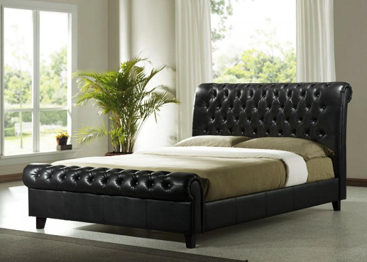 Time Living Richmond 5ft Kingsize Dark Brown Pu Leather Bed Frame By