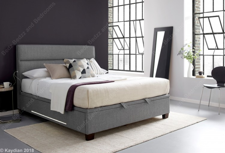 Kaydian Chilton 4ft6 Double Light Grey Fabric Ottoman Bed