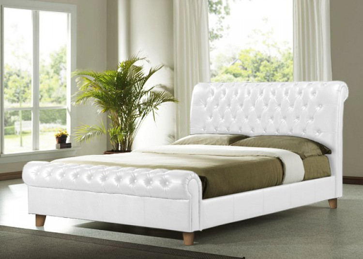White Leather Sleigh Bed 750 x 535