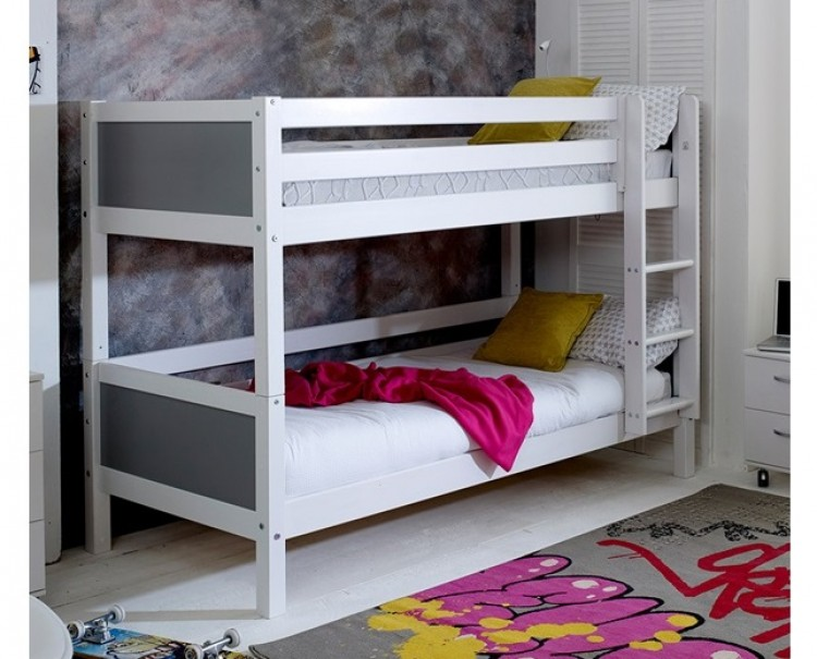 Flexa Nordic Bunk Bed 1 With Flat Grey End Panels By Thuka