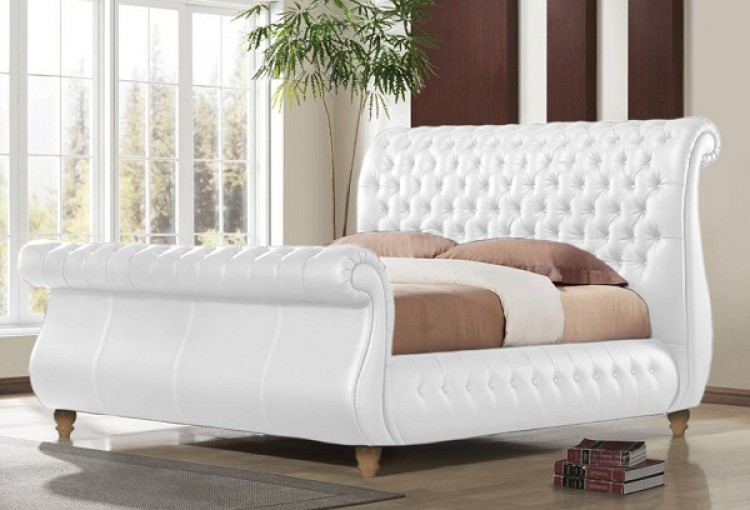 Time Living Swan White 5ft Kingsize Real Leather Bed Frame