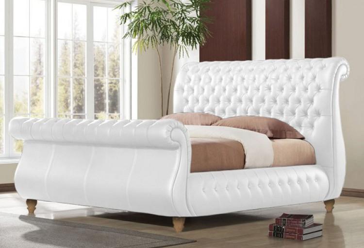 Time Living Swan White 5ft Kingsize Real Leather Bed Frame