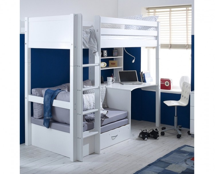 Flexa Nordic Highsleeper Bed 3 With Flat White End Panels Desk And