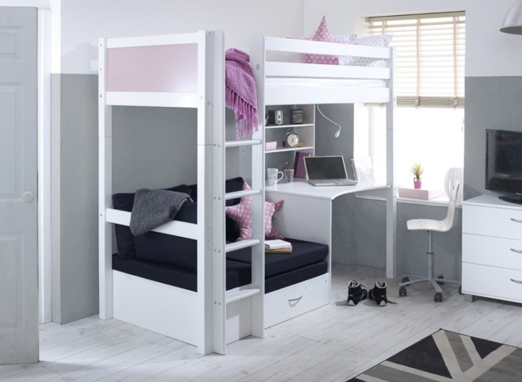 Flexa Nordic Highsleeper Bed 3 With Rose Colour End Panels Desk And Black Sofabed By Thuka