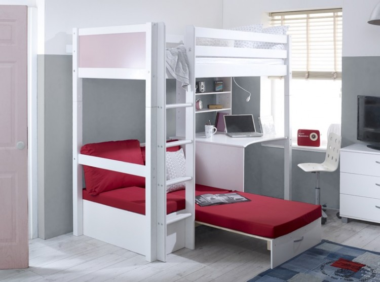Awe Inspiring Flexa Nordic Highsleeper Bed 3 With Rose Colour End Panels Gamerscity Chair Design For Home Gamerscityorg