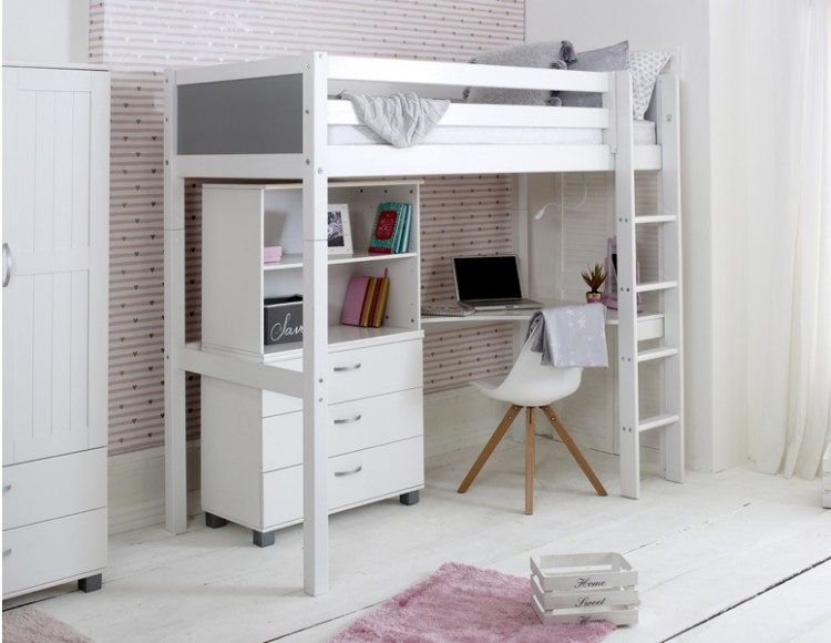 Flexa Nordic Highsleeper Bed 4 With Grey End Panels Bookcase And Desk By Thuka