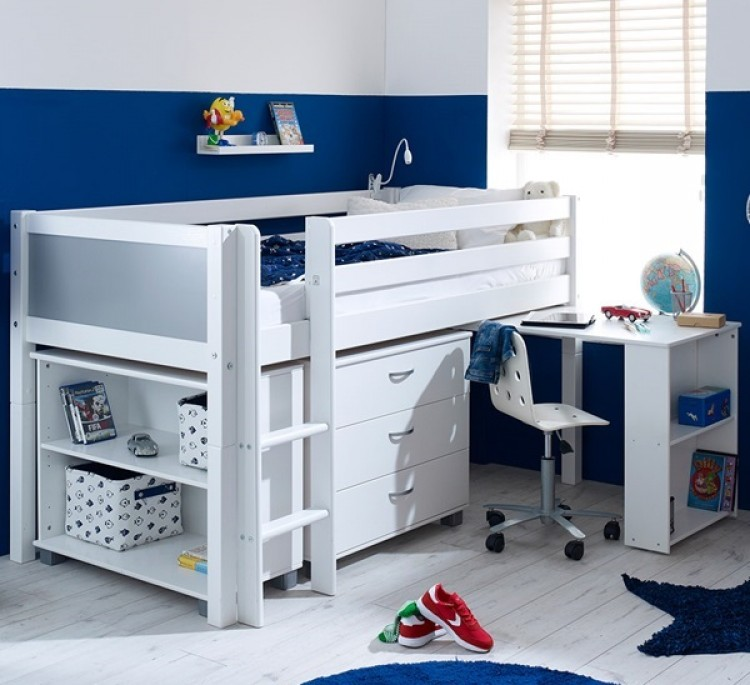 Flexa Nordic Midsleeper Bed 3 With Grey End Panels Desk Bookcase And Chest By Thuka