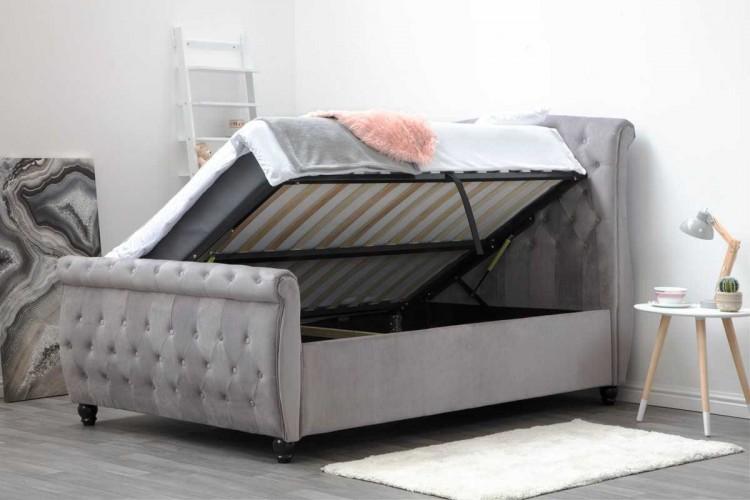 sleep design hampton 5ft kingsize grey velvet ottoman. Black Bedroom Furniture Sets. Home Design Ideas