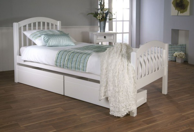 White Wooden Bed Frame | Simple House Design Ideas