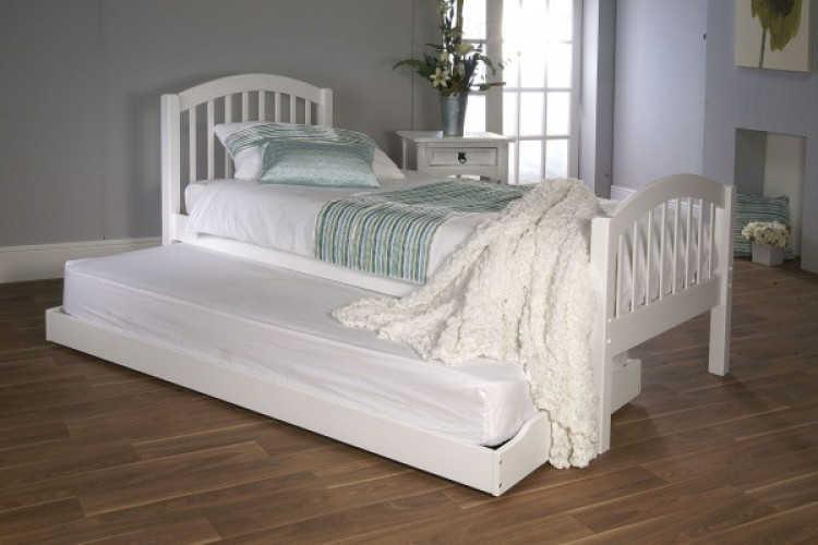 White Wooden Bed With Guest Frame