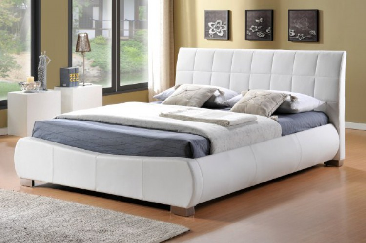 limelight dorado 5ft kingsize white faux leather bed frame by limelight beds - Double Bed Frames