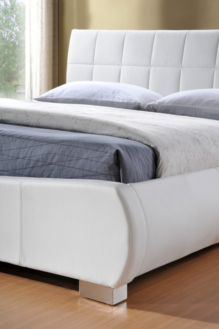 sch white leather double bed frame modern beds cscae net
