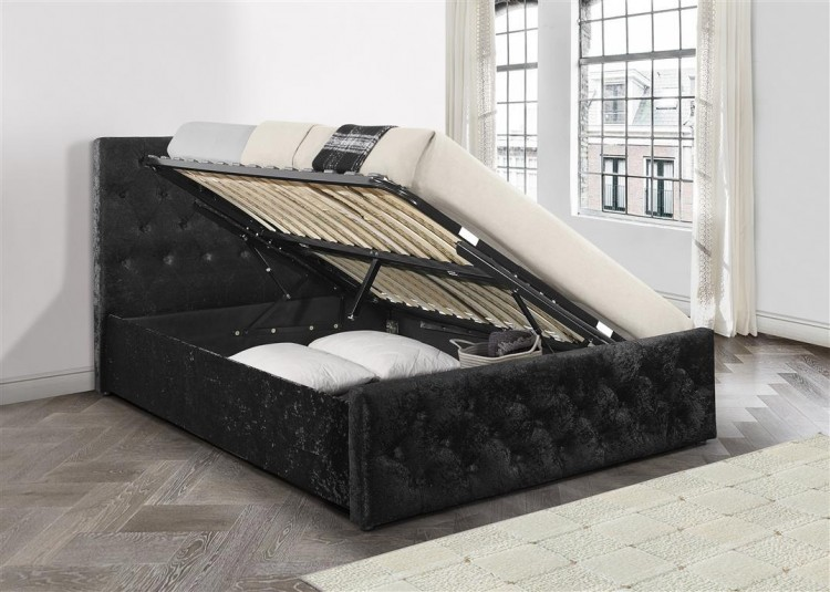 aad691c1d0af Birlea Finsbury 4ft Small Double Black Crushed Velvet Fabric Ottoman Bed  Frame by Birlea