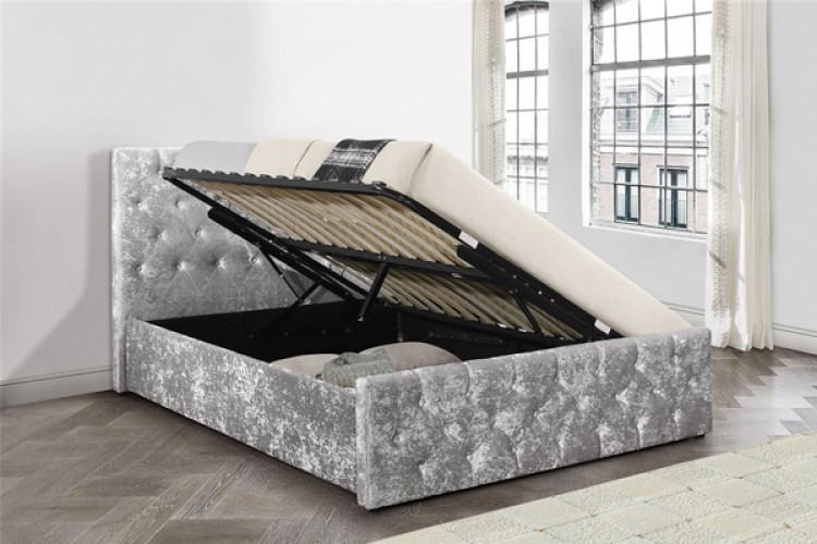 4be9134a76d3 Birlea Finsbury 4ft Small Double Steel Crushed Velvet Fabric Ottoman Bed  Frame by Birlea