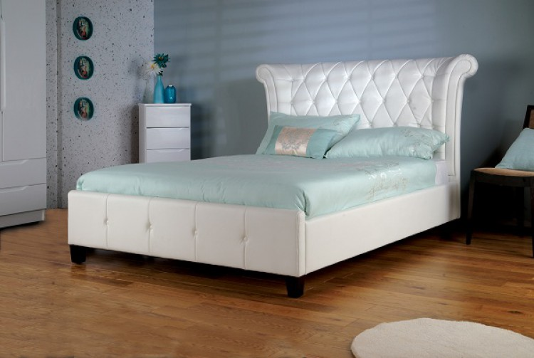 White Faux Leather Bed 750 x 503