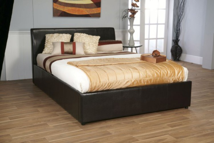 Limelight Galaxy Brown 6ft Super Kingsize Leather Ottoman Bed Frame