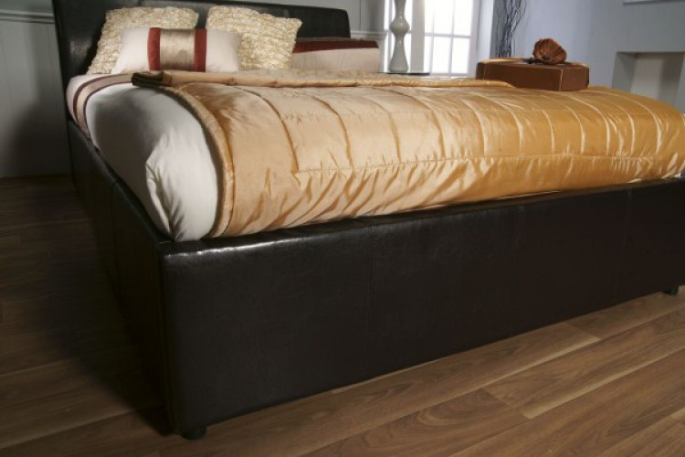 limelight galaxy brown 4ft6 leather ottoman bed frame by limelight beds