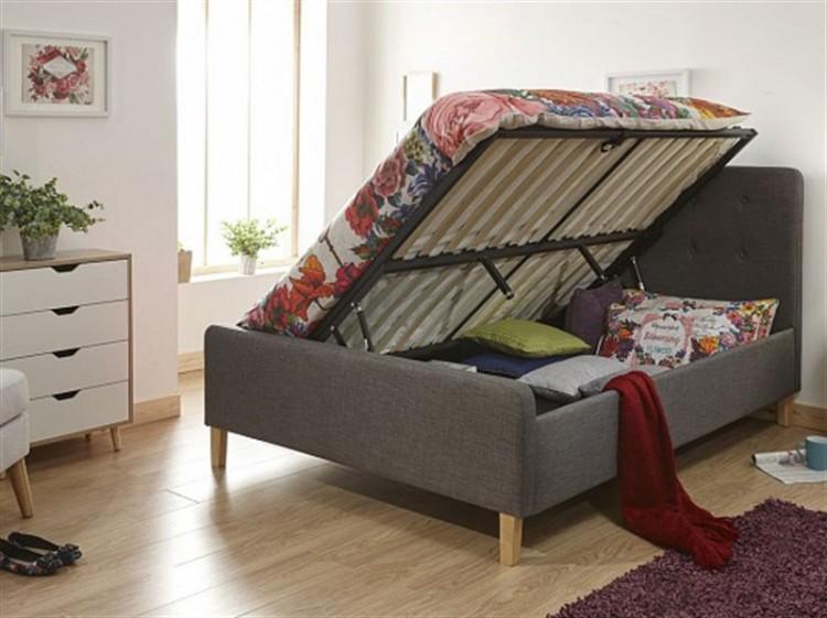 Marvelous Gfw Ashbourne 5Ft Kingsize Dark Grey Fabric Side Lift Inzonedesignstudio Interior Chair Design Inzonedesignstudiocom