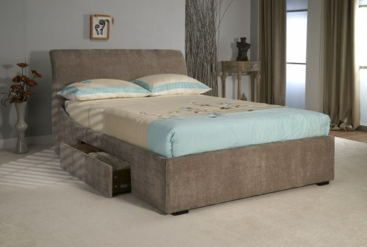 Limelight oberon 4ft6 double mink fabric bed frame with for Fabric bed frame with storage