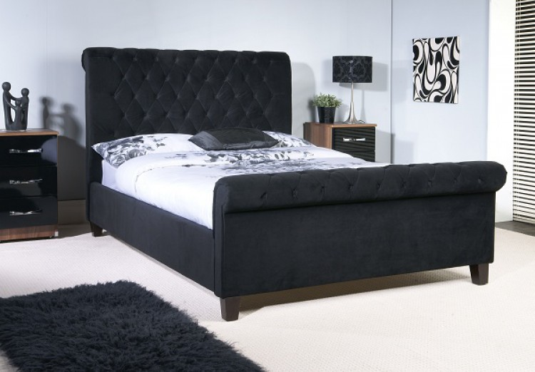 Limelight Orbit 5ft Kingsize Black Velvet Fabric Bed Frame