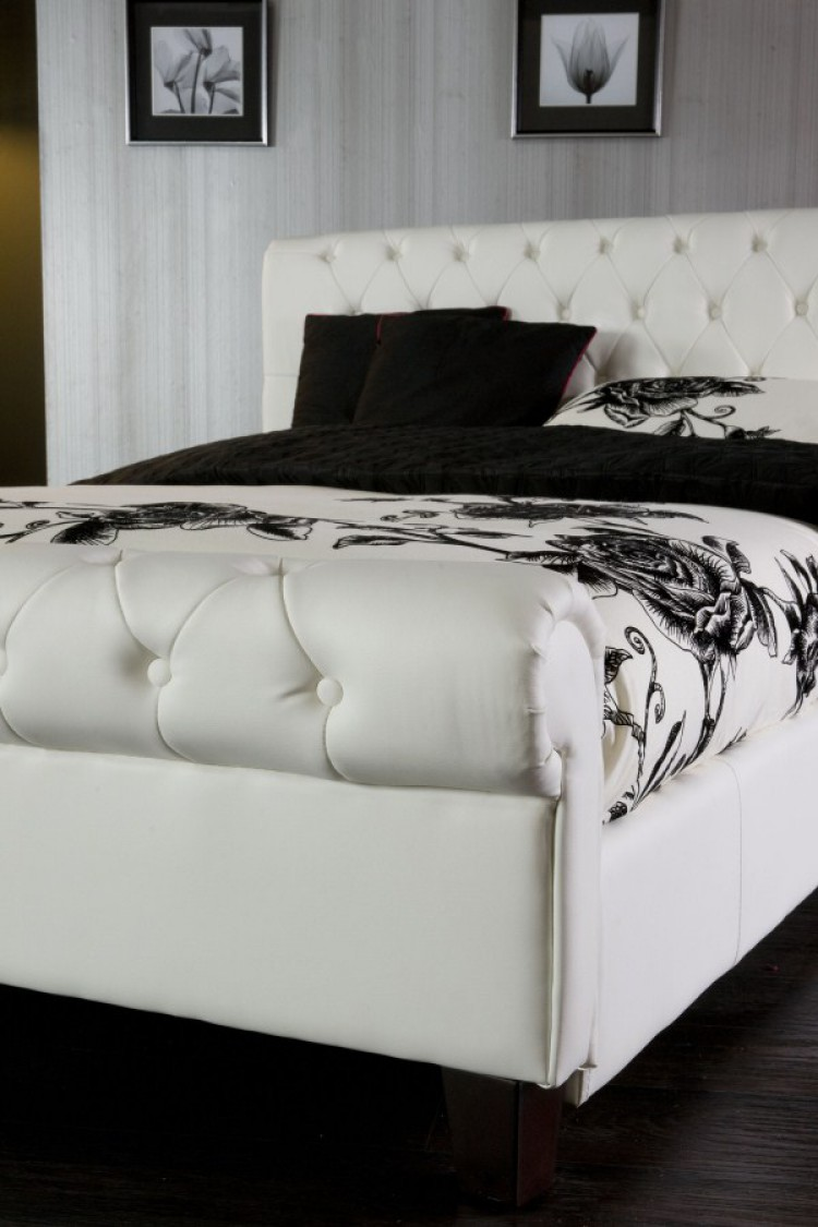 White Leather King Size Bed Frame 750 x 1125