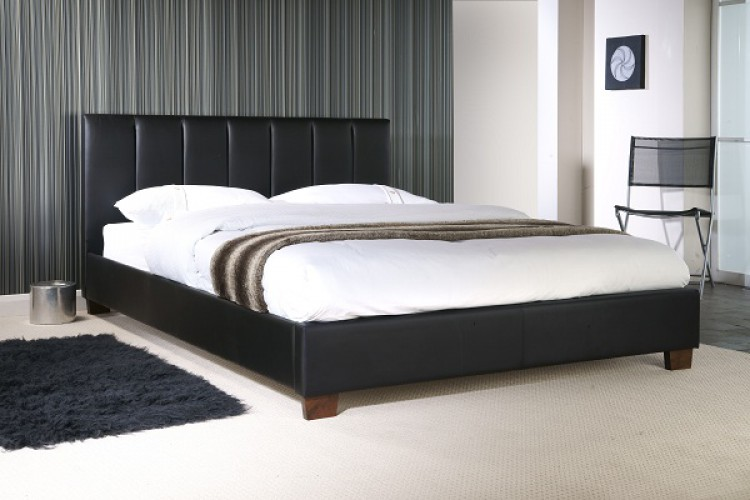 c28e00aedd1 Limelight Pulsar Black 4ft Small Double Faux Leather Bed Frame by Limelight  Beds