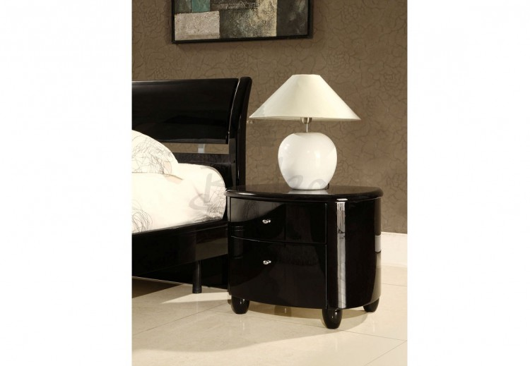 birlea aztec black gloss 2 drawer nightstand by birlea