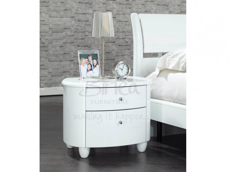 birlea aztec white gloss 2 drawer nightstand by birlea