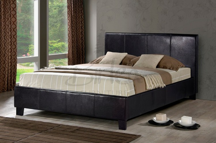 Birlea berlin 4ft small double brown faux leather bed for Leather beds