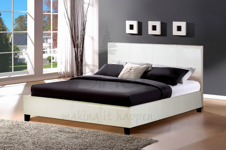 birlea berlin 4ft small double white faux leather bed frame by birlea. Black Bedroom Furniture Sets. Home Design Ideas