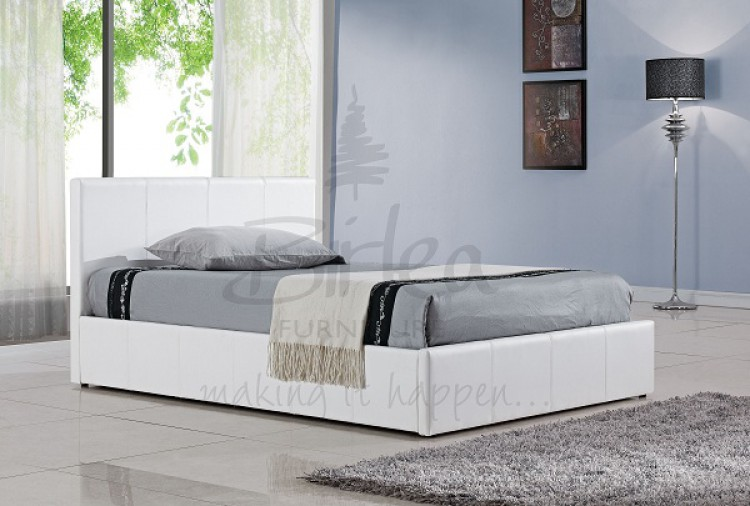 birlea berlin ottoman 4ft small double white faux leather bed frame by birlea. Black Bedroom Furniture Sets. Home Design Ideas