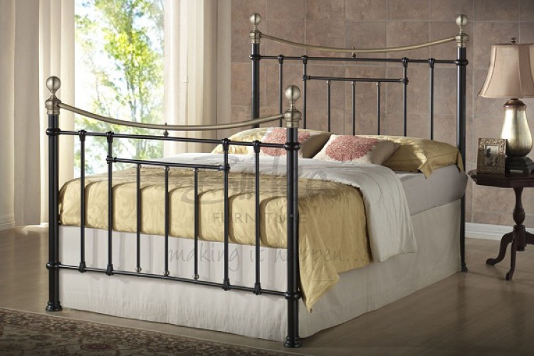 birlea bronte 4ft6 double black metal bed frame by