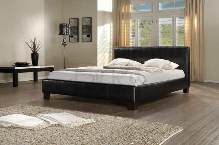 Birlea Brooklyn Black 6ft Super Kingsize Faux Leather Bed Frame By