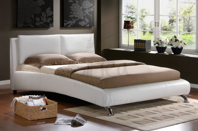 birlea carnaby white 4ft6 double faux leather bed frame by birlea. Black Bedroom Furniture Sets. Home Design Ideas