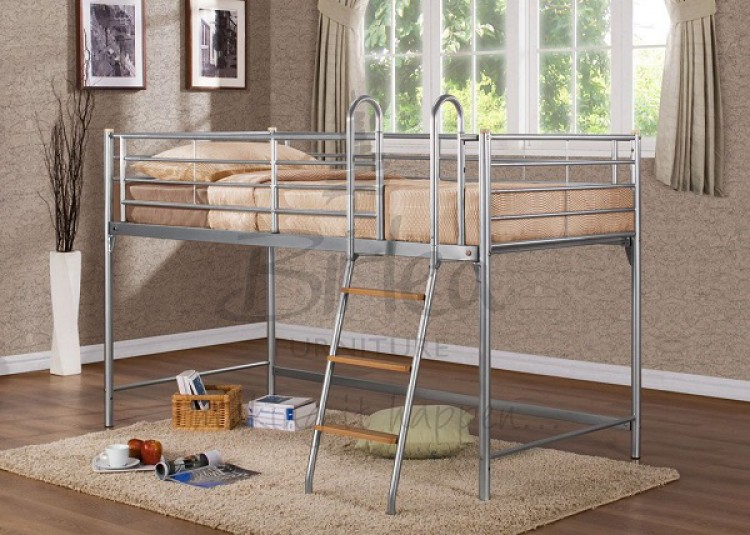 Birlea Cosmo 3ft Single Silver Metal Mid Sleeper Bed Frame By