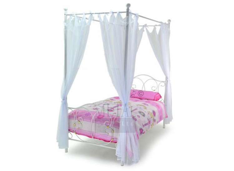 Metal Beds Ballet 3ft Single White Four Poster Bed Frame By Ltd