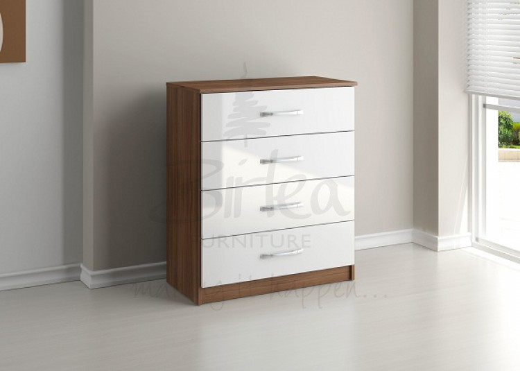 birlea lynx walnut with white gloss 4 drawer chest of drawers by birlea