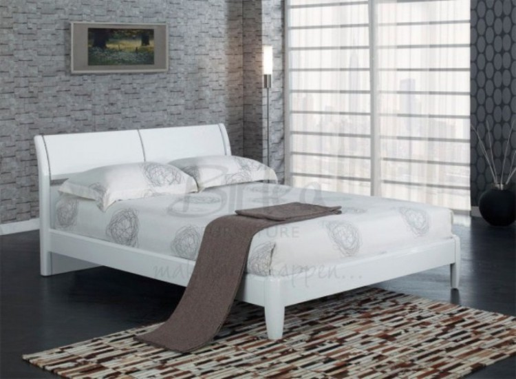 birlea aztec white 5ft kingsize high gloss bed frame by