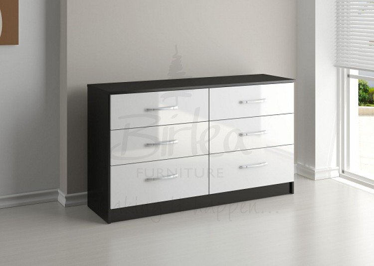 Birlea lynx black with white gloss 6 drawer wide chest of for White gloss bedroom furniture