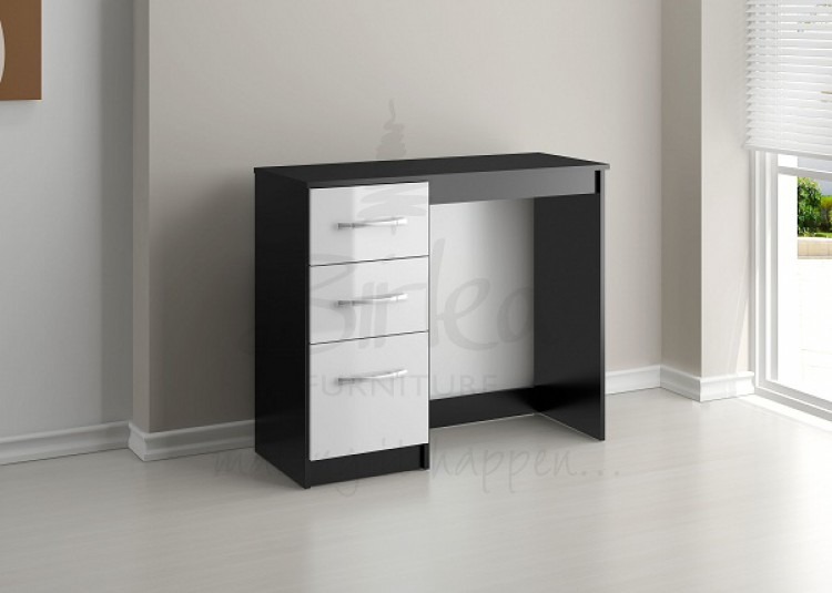 White Gloss Dressing Table And Chair: Birlea Lynx Black With White Gloss 3 Drawer Single