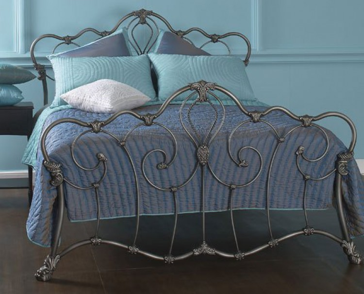 7689d3847717 OBC Athalone 4ft 6 Double Silver Patina Metal Headboard By Original  Bedstead Company
