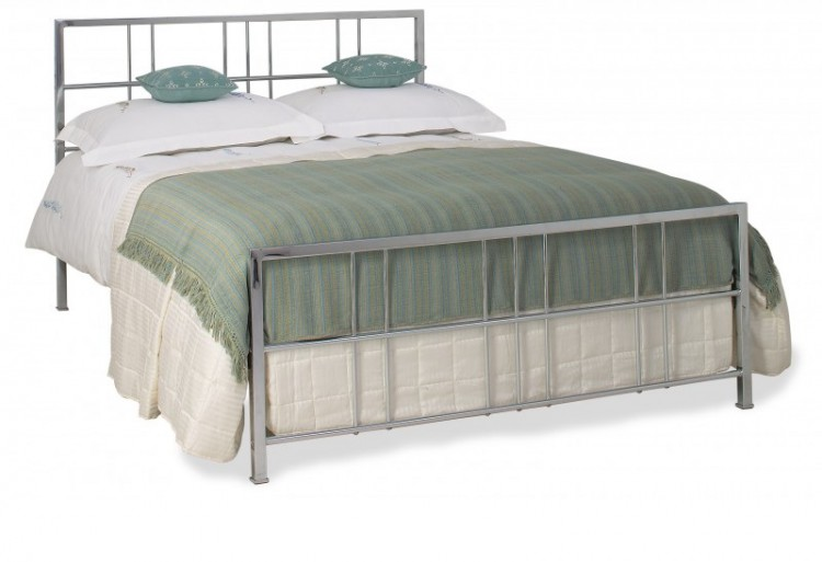 OBC Tain 4ft 6 Double Chrome Metal Headboard By Original