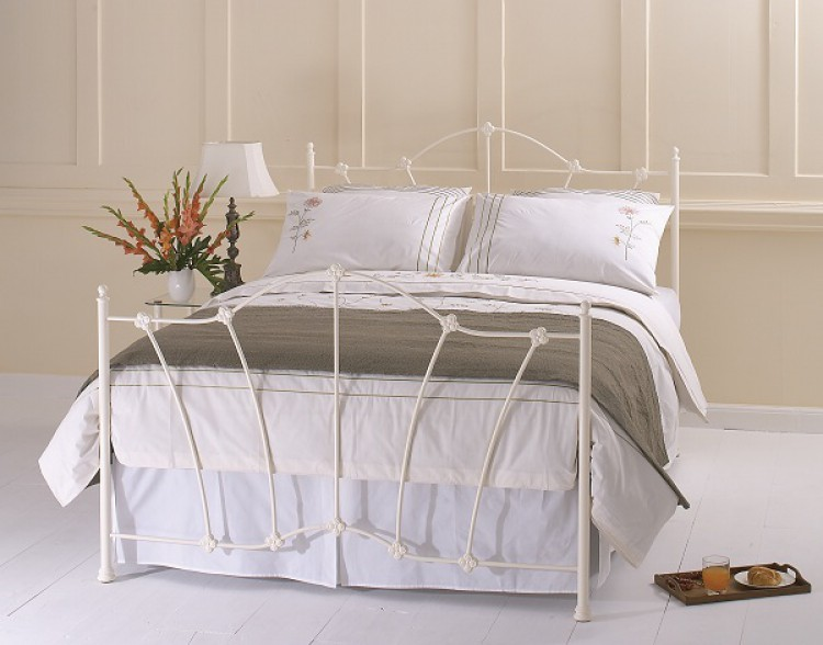 Obc Thorpe 4ft Small Double Glossy Ivory Metal Headboard