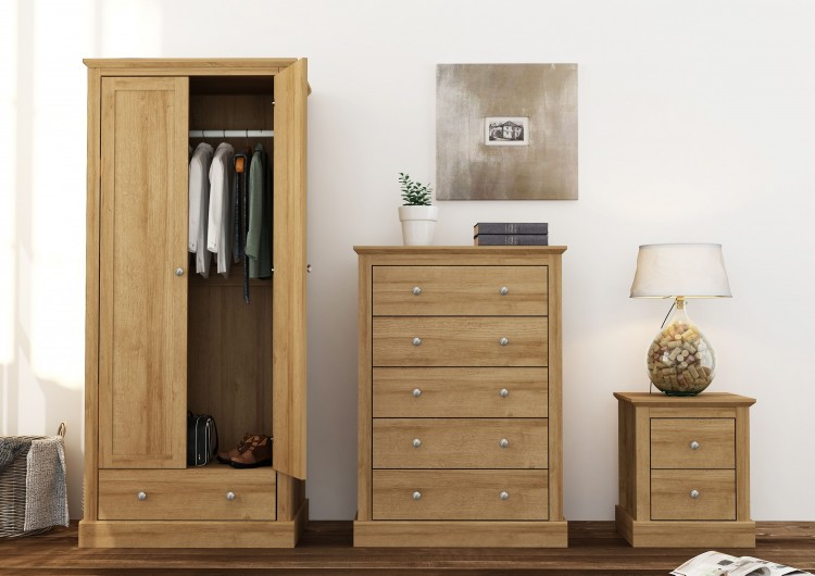 LPD Devon Oak Finish 2 Drawer Bedside by LPD Furniture