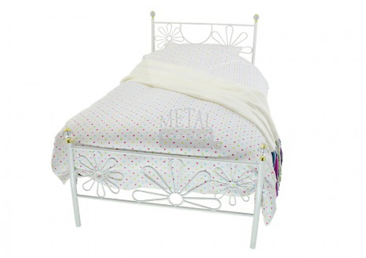 Metal Beds Daisy 3ft 90cm Single White Metal Bed Frame