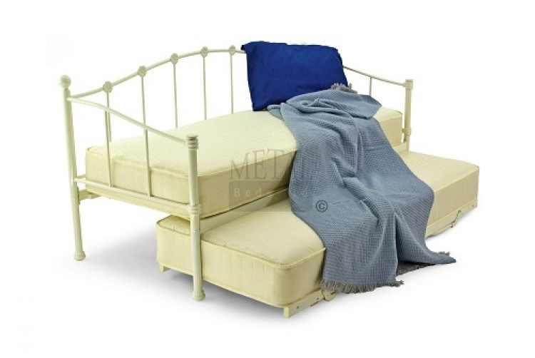 metal beds paris 2ft6 75cm small single ivory metal day beds. Black Bedroom Furniture Sets. Home Design Ideas