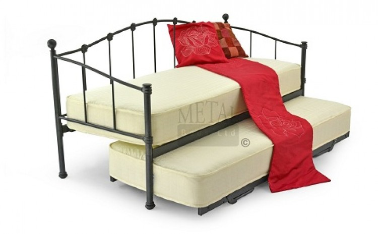 Metal beds paris 2ft6 75cm small single black metal day for Small bed frame
