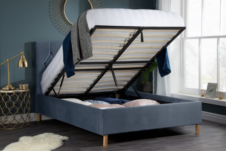 Birlea Loxley 4ft Small Double Grey Fabric Ottoman Storage Bed Frame By Birlea