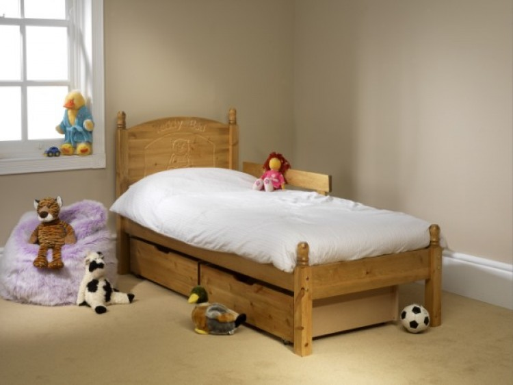 Friendship Mill Childrens Teddy 3ft Single Pine Wooden Bed Frame By